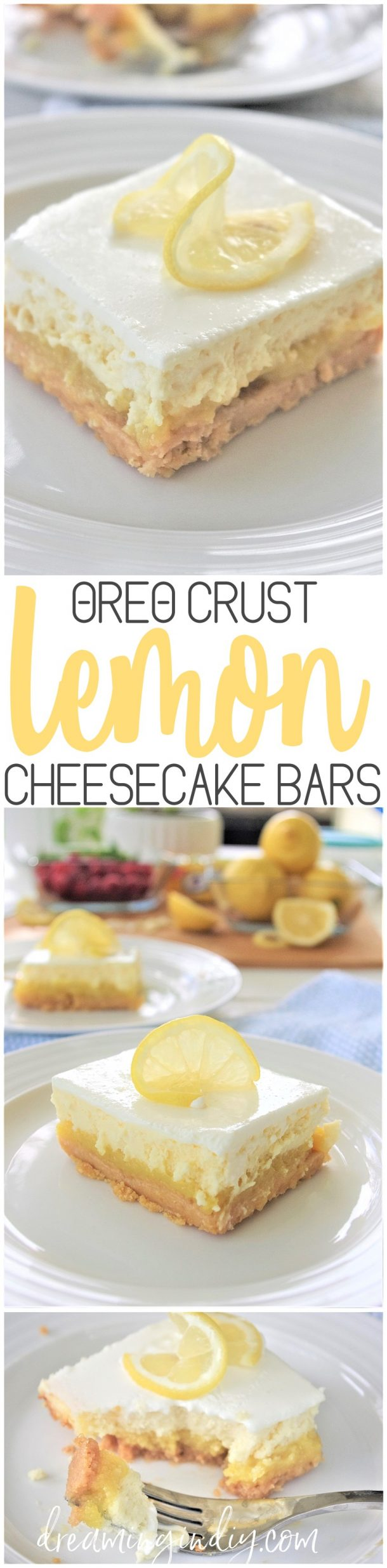 Oreo Crust Easy Sour Cream Lemon Layered Cheesecake Dessert Bars Recipe via Dreaming in DIY #dessertbars #cookiebars #barsrecipes #dessertforacrowd #partydesserts #christmasdesserts #holidaydesserts #onepandesserts