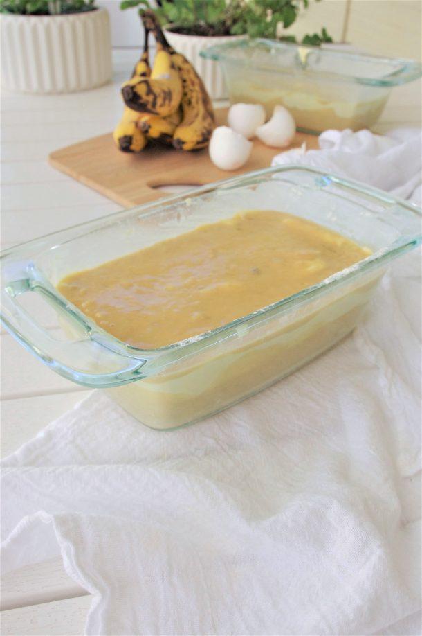 Easy Cream Cheese Filled Banana Dessert Bread with Greek Yogurt Recipe - so moist and yummy - by Dreaming in DIY