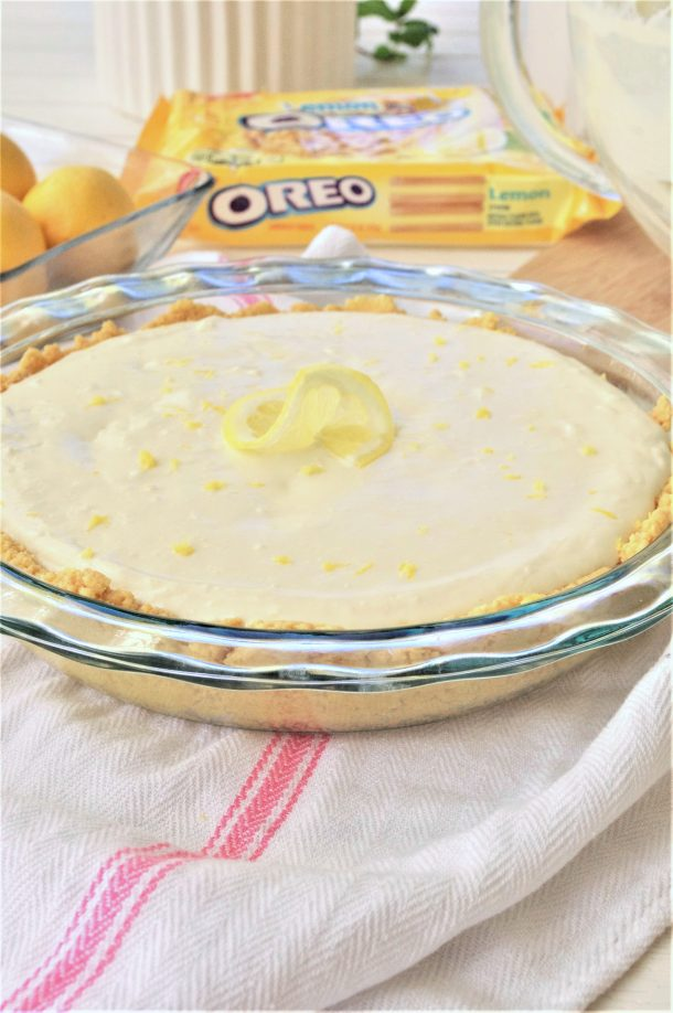 Easy No Bake Lemon Cheesecake Ice Box Pie with Lemon Oreo Crust Dessert Recipe add zest to top via Dreaming in DIY