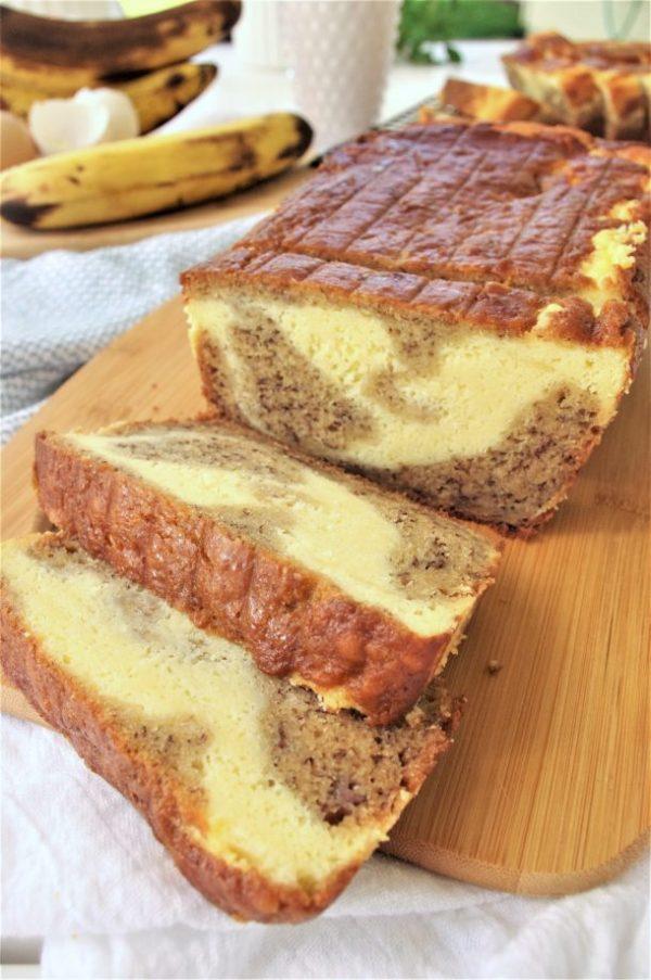 Easy Quick Cream Cheese Swirled Banana Dessert Bread made with Greek Yogurt Recipe - so moist and yummy - by Dreaming in DIY