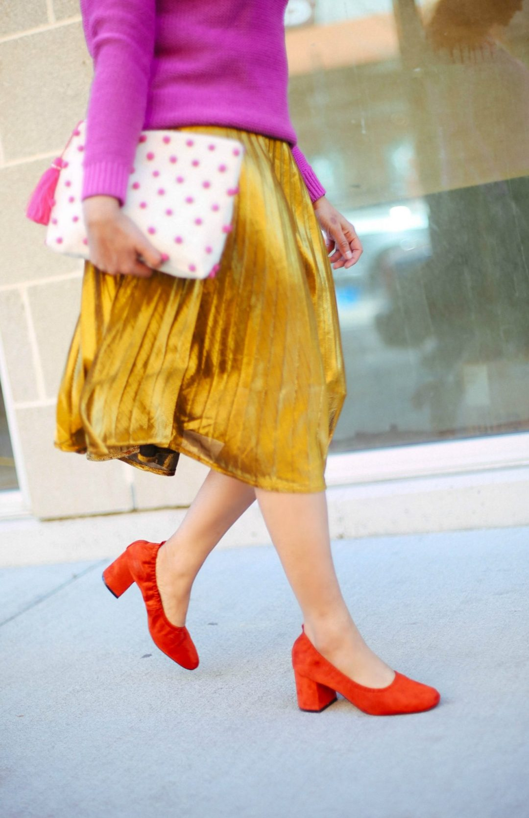 Asos-Simone-heels- How to dress up gold pleated midi skirt