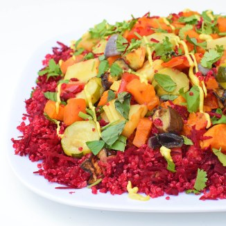 roast vegetable quinoa salad with turmeric tahini dressing
