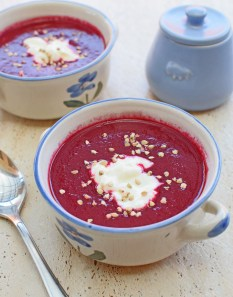 Beet, Beet Leaf and Apple Borscht from Simplicious