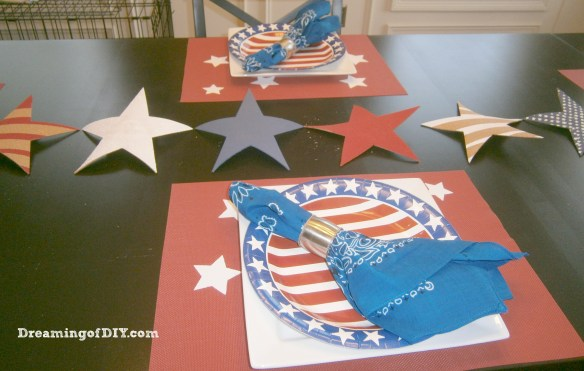 cork, craft paint, bandanna, patriotic place mat