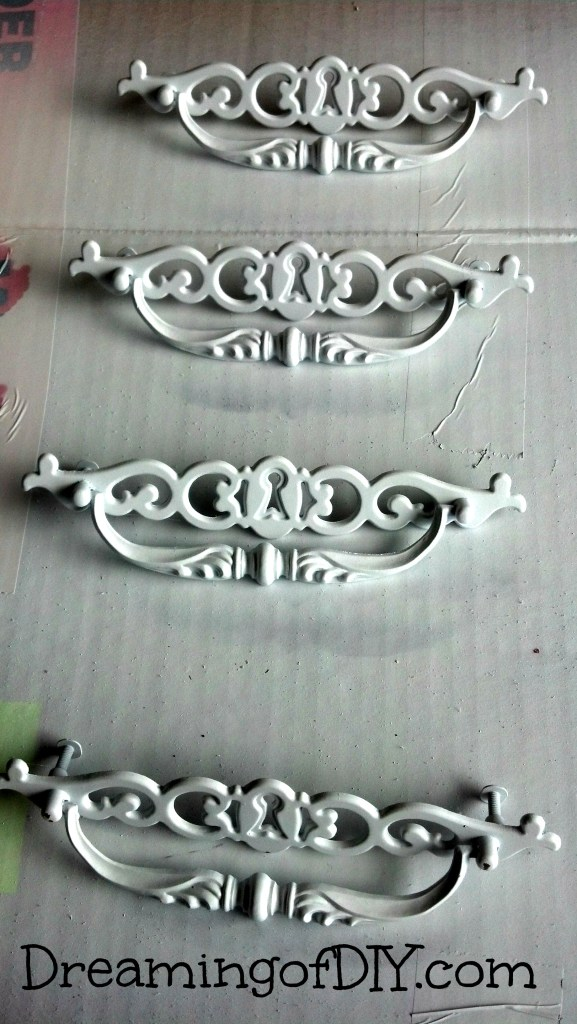 spray painted white hardware