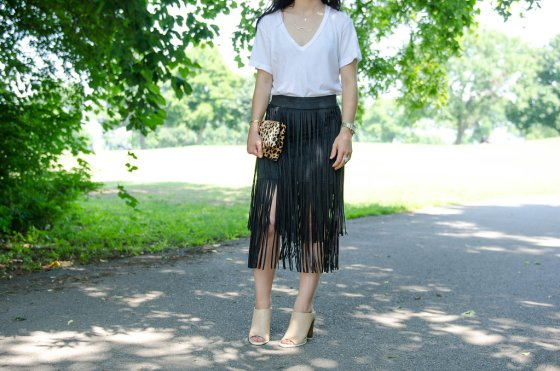dreaming trees suede fringe skirt look
