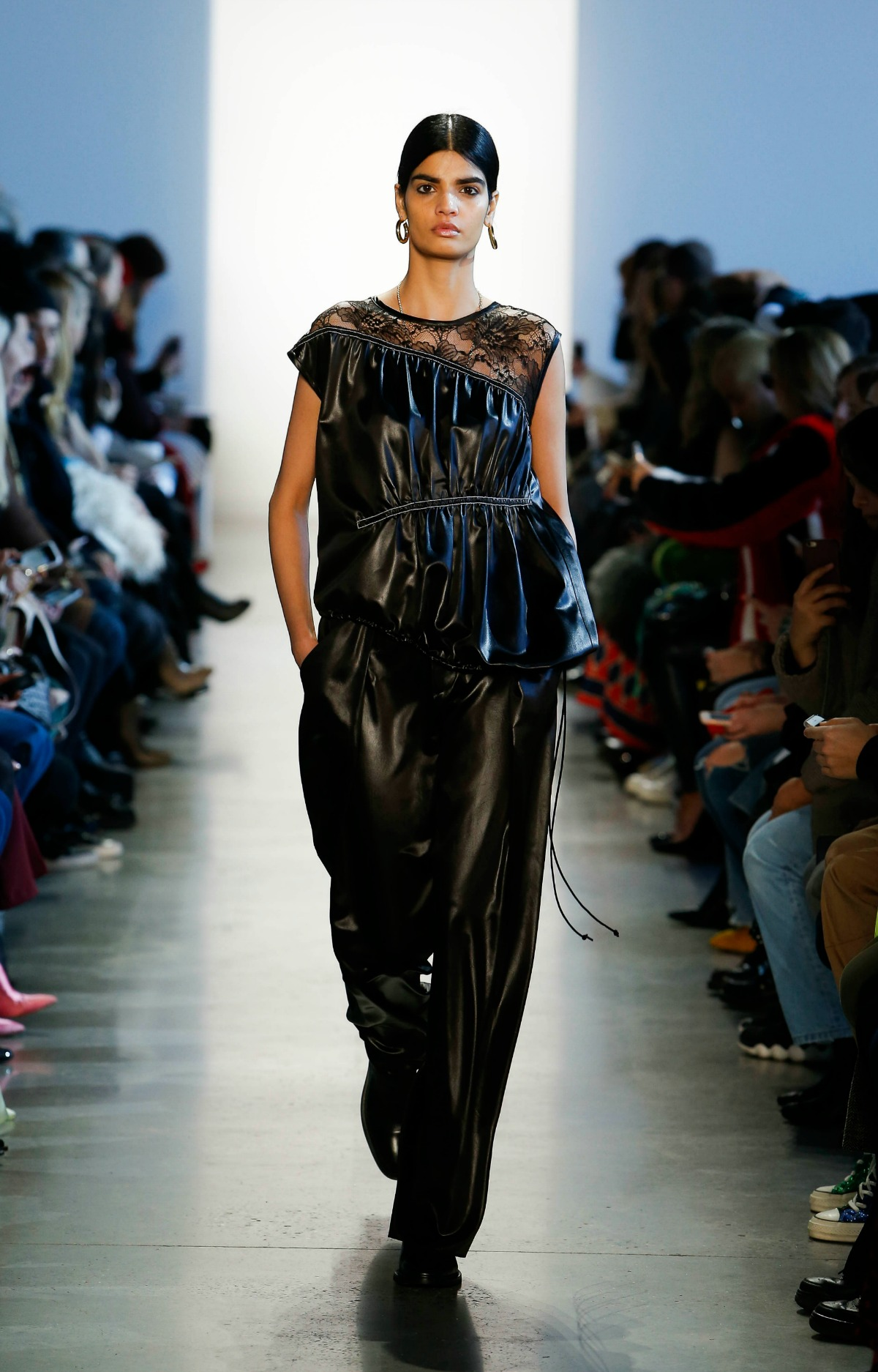 COLOVOS Fall 2018 Runway at NYFW I Millennial Faux Leather Blouse and Trousers #NYFW #WinterFashion