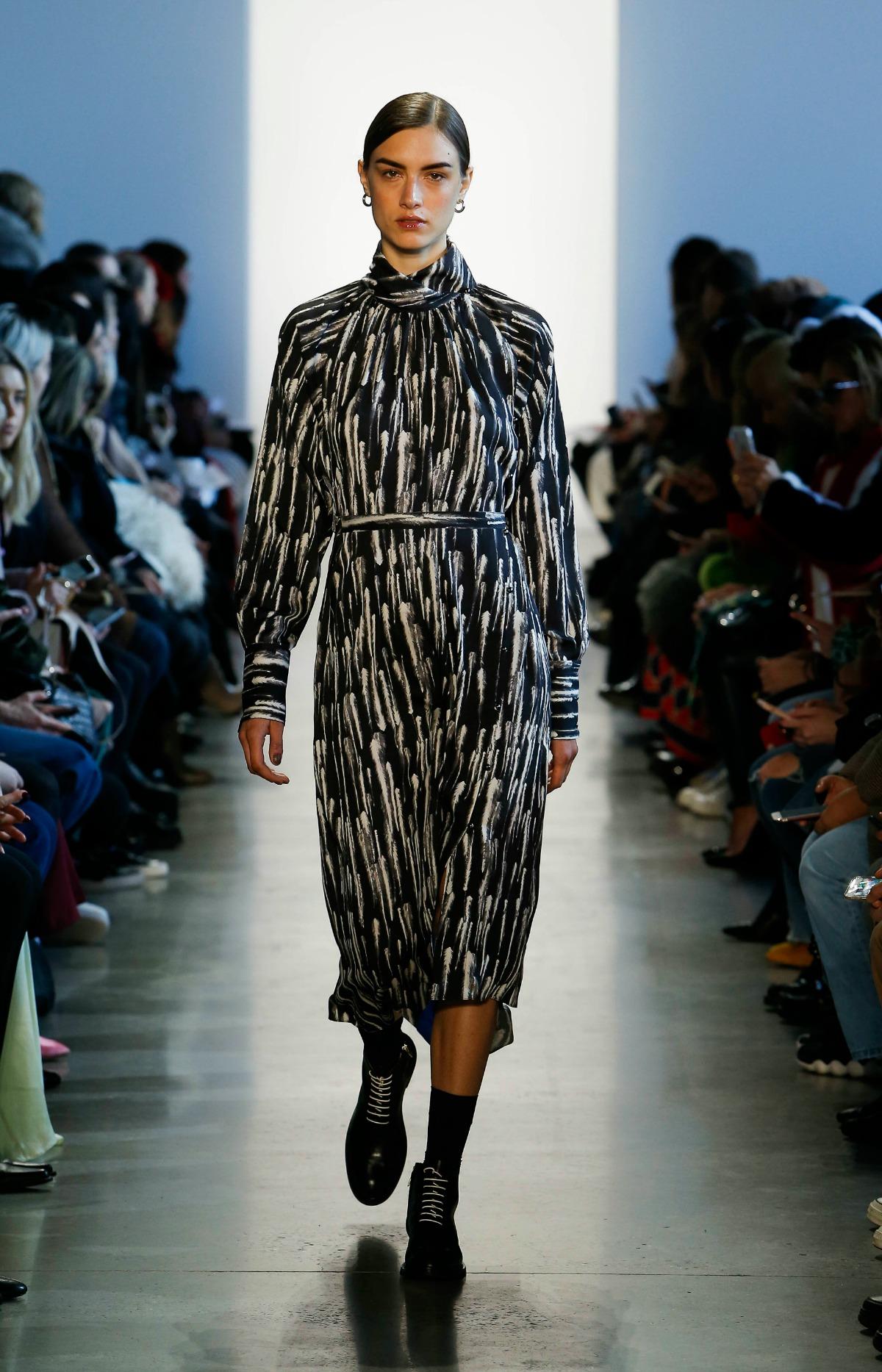 COLOVOS Fall 2018 Runway at NYFW I Silk Feather Print Dress #NYFW #WinterFashion