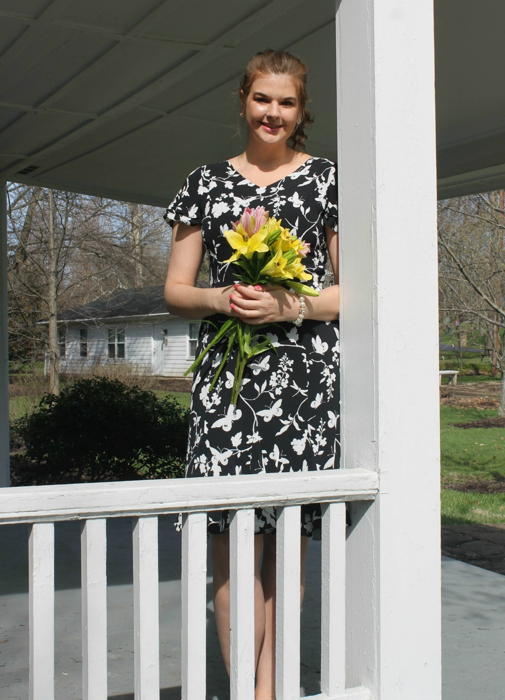 Talbots Occasion Wear I Spring 2018 RSVP Collection Butterfly Print Dress and Flats #Talbots #SpringStyle #Occasion