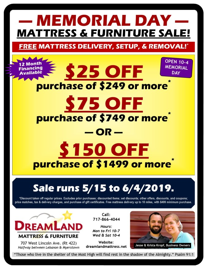 Memorial Day Mattress & Furniture Sale at Dreamland Mattress Store in Lebanon PA