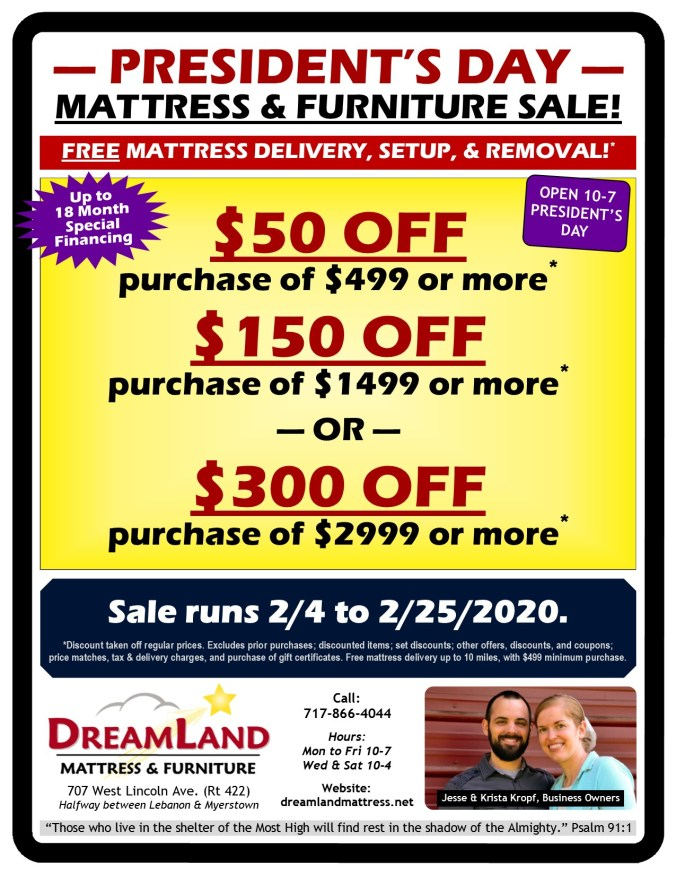 President's Day Mattress & Furniture Sale at Dreamland Mattress Store in Lebanon PA 2020