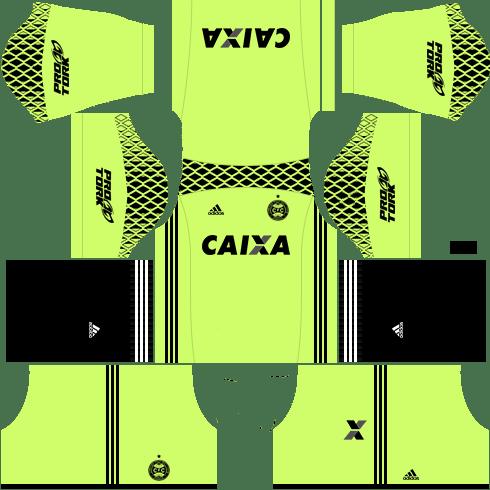 kit coritiba dls17 uniforme goleiro casa
