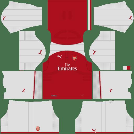 kit Arsenal dls17 home - uniforme casa 17-18