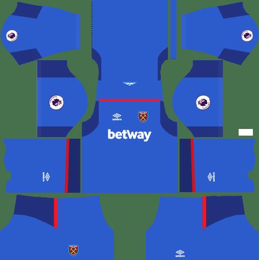 West Ham United Goalkeeper Away Kits DLS 2018