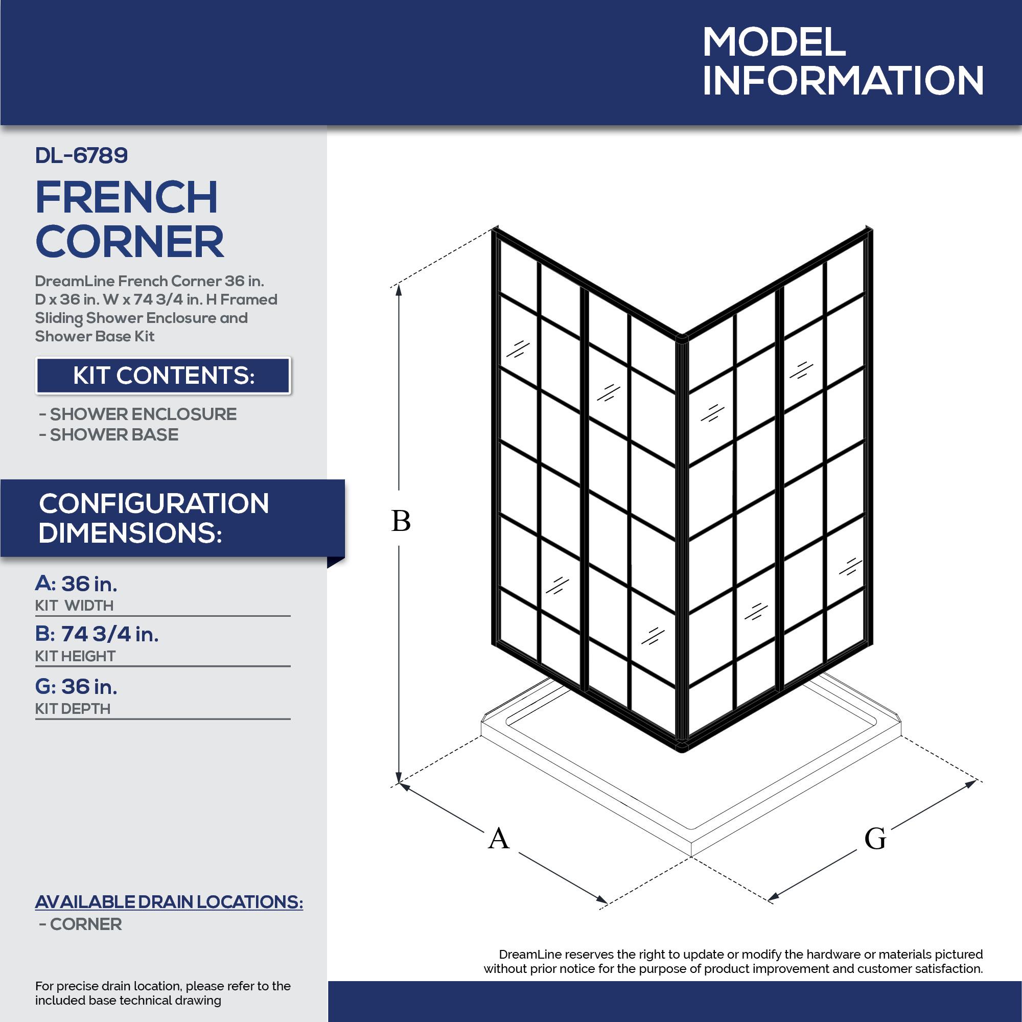 Dreamline Dl 6789 French Corner 36 French Corner Shower Enclosure And Shower Base Kit Qualitybath Com