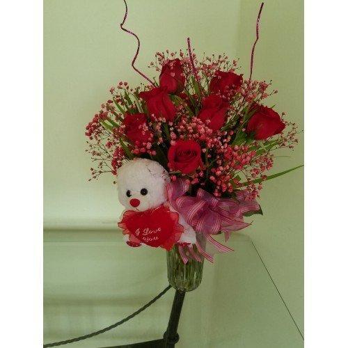 Dream Makers Florist Barbados - Dozen Roses with a bear