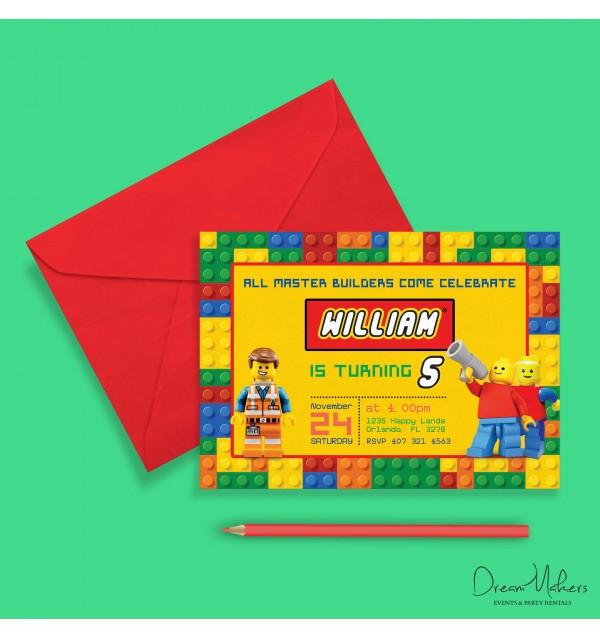 lego party birthday invitation 5 x 7