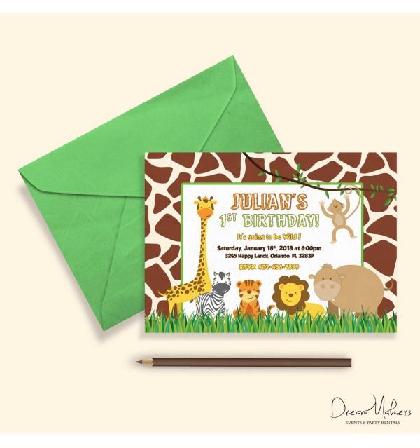 jungle safari party birthday invitation 5 x 7