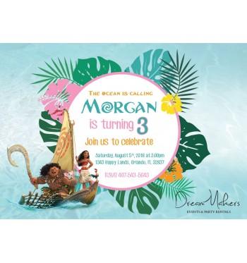 moana party birthday invitation 5 x 7