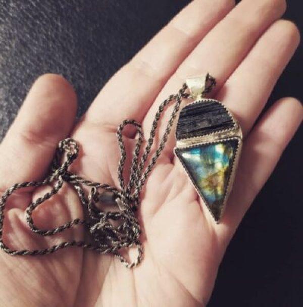 Black Tourmaline and Labradorite Protection Amulet