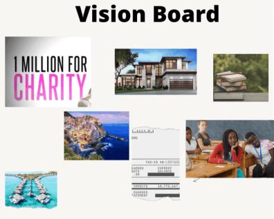 vision board to help set SMART goals