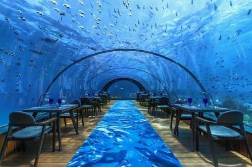 Hurawalhi Underwater Hotel Restaurant, Maldives.