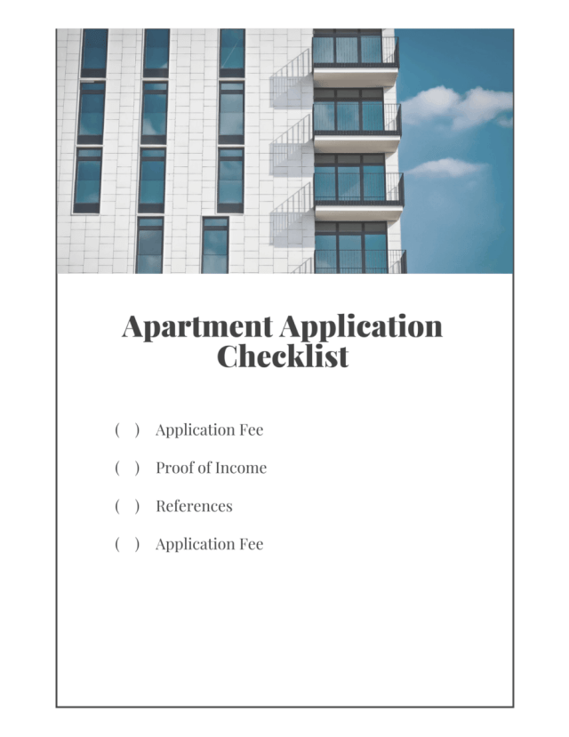 Check list for applying for an apartment