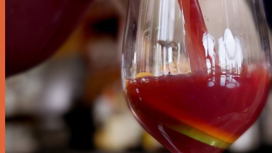 red sangria poured in wine glass, catas, mixed up, newark