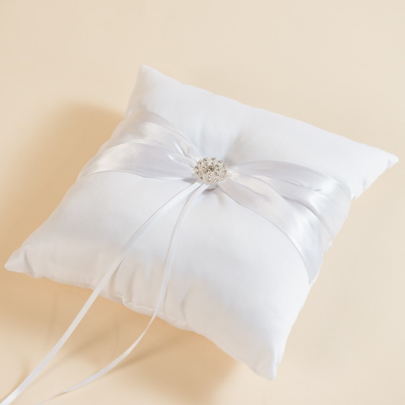 rent ivory white ring pillow with satin ribbon
