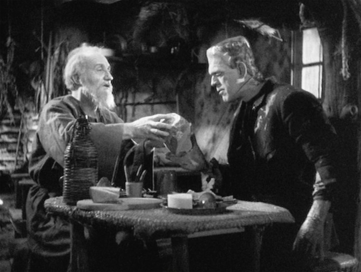 Image result for The Bride of Frankenstein movie, 1935 - the monster meeting the blind hermit