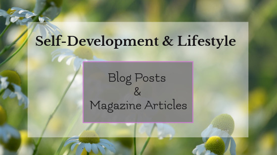 Self-development and lifestyle blog posts and magazine articles graphic; photos of daisy field in background