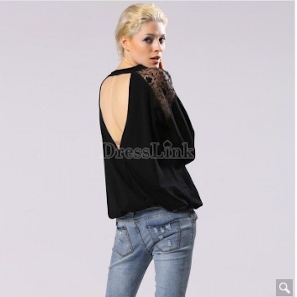 Women's Casual Summer Sexy Lace Loose Backless Perspective Blouse Tops
