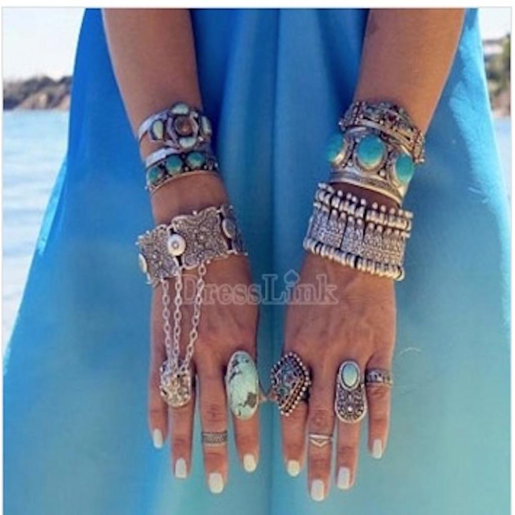 Korean Fashion Women's Retro Bohemian Boho Style Ethnic Bracelet Wide Metal Wrist Chain
