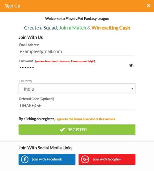 Register On PlayerzPot