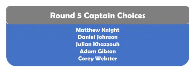 Round 5 Captains