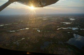 Abendstimmung über dem Okawango Delta