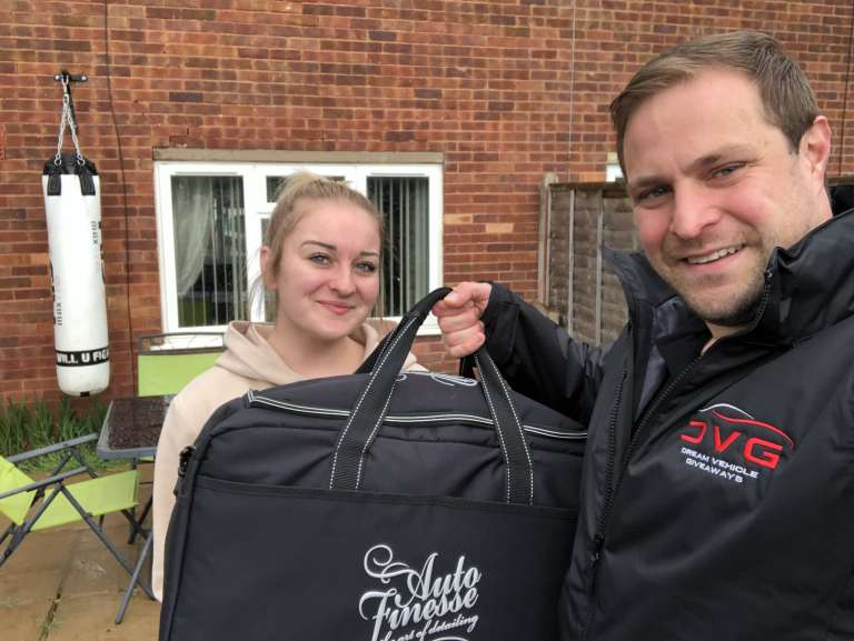 Chloe Knight from Worcester a DVG winner of the Auto Finesse kit with ticket No.40 on 03.05.19