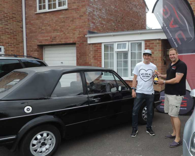 Here is Simon Taylor from Oxford a DVG winner of our VW Golf Mk1 with ticket No. 97 on 05.08.19
