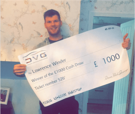 £1000 Winner - This is Lawrence Winder from Stockport the winner of our £1000 draw with ticket No.526 on 20.10.19