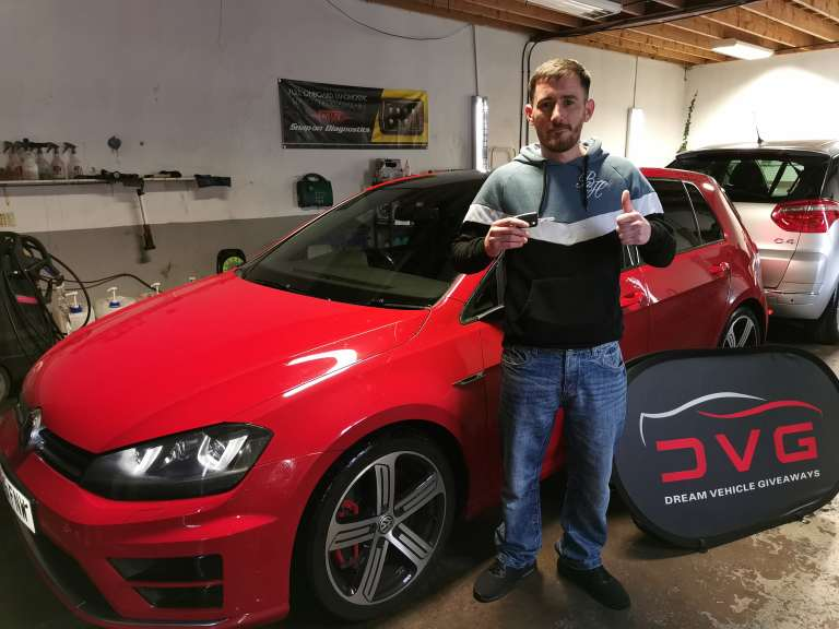 John Hughes from Glasgow and winner of our VW Golf R with ticket No. 1140 on 10.02.20