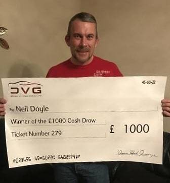 Neil Doyle from Plymouth and winner of our 7th £1000 comp with ticket No. 279 on 02.03.20