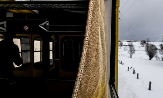 A journey in the yellow train, steeped 110 year old, a French heritage, in Pyrenees Orientales, region of the southwest in France. Un voyage dan le train jaune, vieux de 110 ans, patrimoine Français, dans les Pyrenees Orientales, region du sud ouest en France.