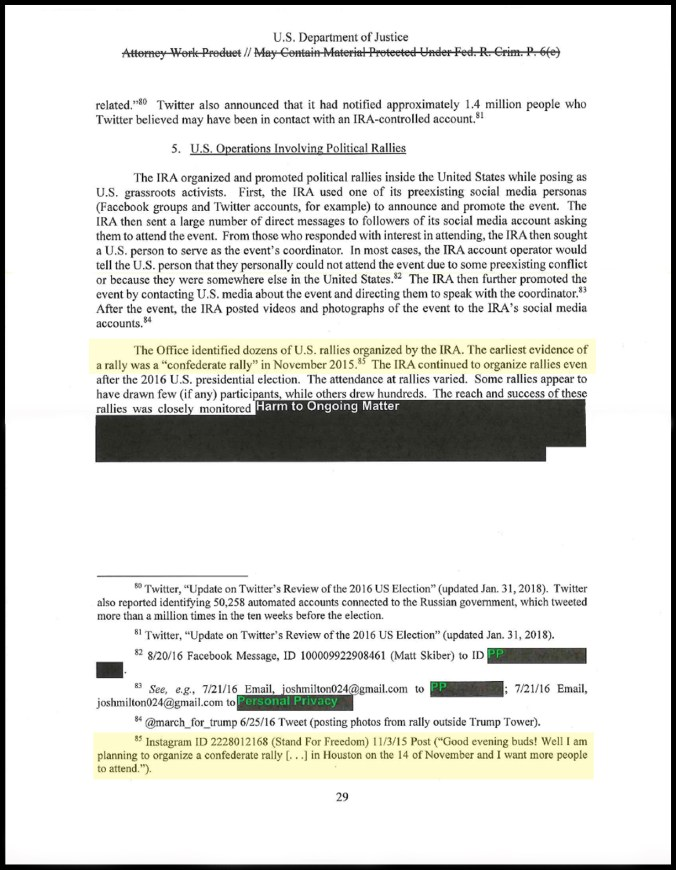 Mueller Report, Vol I, pg 29 example of typical footnotes and redactions