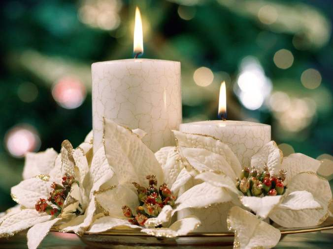 Happy Holidays! white candles and poinsettas