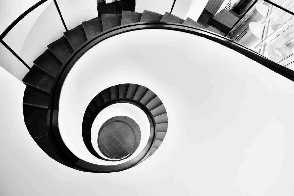aerial photo of black spiral staircase