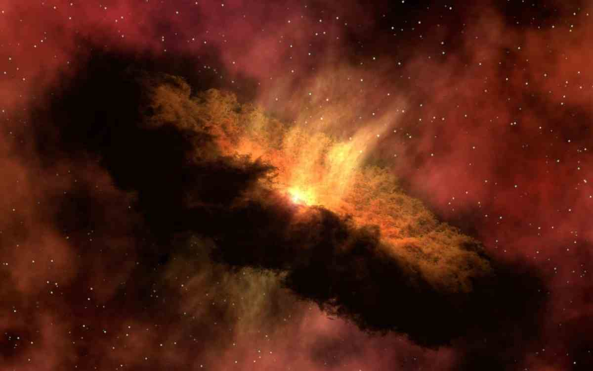 red and orange galaxy illustration