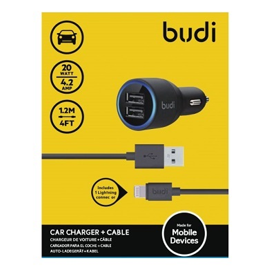 Budi Car Charger 2 USB Port With Lightning Cable - M8J071