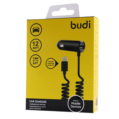 Budi Car Charger 2 USB Port With Coiled Type C Cable - M8J068T