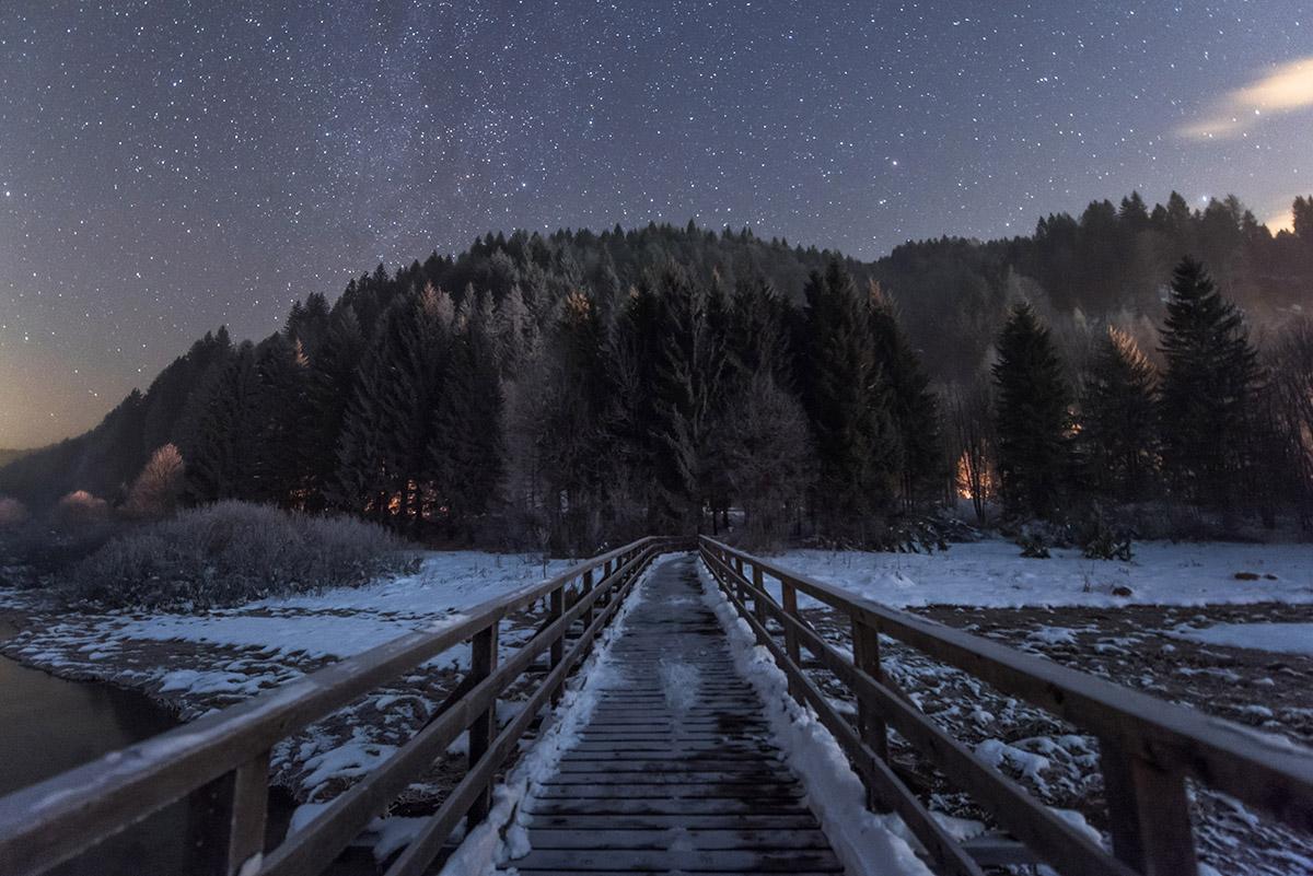 Dark Winter Night Background