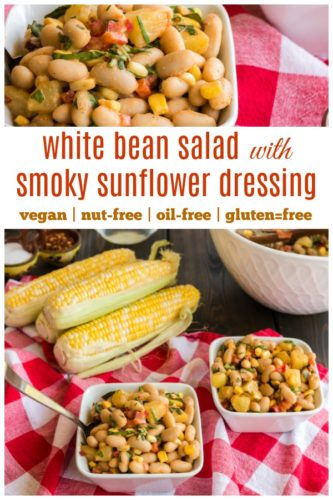 white bean salad with smoky sunflower dressing